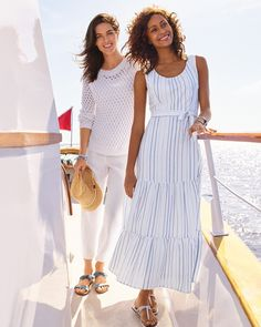 Endless summer. | Talbots Summer Outfits Summer Outfits, Summer Dresses, Classic Style Women, Talbots, Striped Linen, Stripe Print, The Vivienne, Summer Collection, Spring Summer Fashion