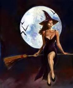 Sexy witch on broom