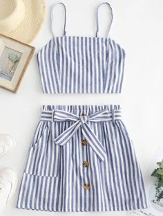 ZAFUL Smocked Striped Top and Belted Skirt Set USD Source by spotpopfashion outfits Two Piece Dress, Two Piece Outfit, Cute Summer Outfits, Cute Outfits, Trendy Fashion, Fashion Outfits, Fashion Hub, Vestidos Plus Size, Skirt Belt