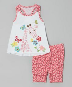 Look what I found on #zulily! Coral Giraffe Tank & Leopard Shorts - Infant & Toddler by Kidtopia #zulilyfinds