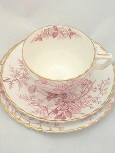 Porcelana inglesa, trío victoriano rosa