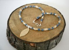 Men's Denim Blue and Ivory Bone Feather Necklace Wooden by Karenda