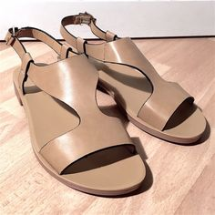 NWT Pierre Dumas Natural Sandals Lightweight and flexible! These natural color sandals feature a thick t-strap design and offer a really flexible sole. Medium width and run small so get the next size up for the best fit. Pierre Dumas Shoes Sandals