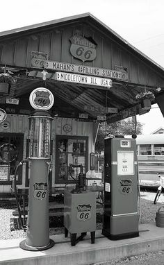 Shop for route 66 art from Frank Romeo. All route 66 artwork ships within 48 hours and includes a money-back guarantee. Choose your favorite route 66 designs and purchase them as wall art, home decor, phone cases, tote bags, and more! Old Gas Pumps, Vintage Gas Pumps, Drive In, Missouri, Phillips 66, Pompe A Essence, Route 66 Road Trip, Historic Route 66, Old Gas Stations