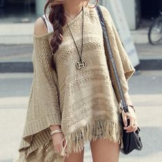2015 new European style casual hollow sweater shawl fringed cape sweater bat sleeve blouse sweater trendy women clothes W006
