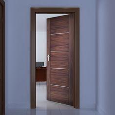 Bespoke Portici Walnut Fire Door, Aluminium Inlay - 1/2 Hour Fire Rated - Prefinished.    #bespokefiredoor #madetoorderdoor #moderninteriordoor #moderninterior #decuredoor #safedoor #bespokefirerateddoor