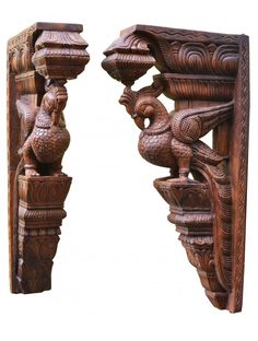 Brownish parrot wall mount Wood Carving Art, Wood Carvings, Wood Crown Molding, Home Decor Furniture, Furniture Plans, Indian Temple, Vintage Type, Temple Jewellery, Art Store