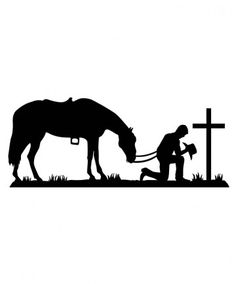 free cowboy and horse praying Cowboy Horse, Cowboy Art, Cowboy Tattoos, Western Tattoos, Horse Stencil, Cross Silhouette, Wood Burning Patterns, Pyrography, Vinyl Decals