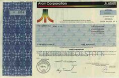 Certificate of Stock from Atari Corp.