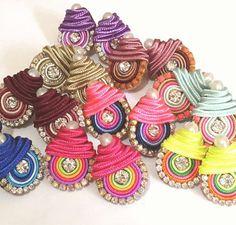 Soutache mini earrings - soutache bridal earrings - embroidered earrings - mini earrings- summer earrings - wholesale jewelry