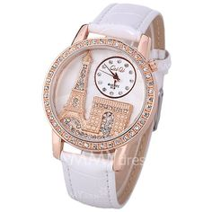 $5.00 Quartz Watch with Diamonds Analog Indicate PU Leather Watch Band Tower Pattern for Women