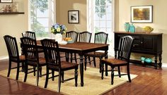 "Dining Table With 8 Chairs 9Pc.Set  Mayville Collection Cm3431T This country inspired piece is uniquely crafted with the best combination of elegance and country appeal. This piece is accented with curved panels, and rich wood fine points to best warm up any style kitchen.• Elegant Country Style• 18"" Expandale Leaf• Turned Leg Design• Matching Server• Solid Wood, Wood Veneer"