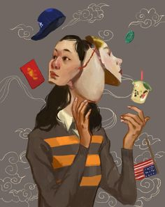 i think this is supposed to symbolize the confusion in belonging to two cultures or feeling like you have to chose one over the other. Cultural Identity, Identity Art, Kunst Portfolio, Drugs Art, Ap Studio Art, Aesthetic Painting, China Art, Ap Art, Art Themes