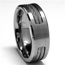 7MM Titanium ring Wedding band with Twisted Steel Cable Inlay  Buy New: $23.99