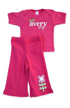 Personalized t-shirt and pants for little girls