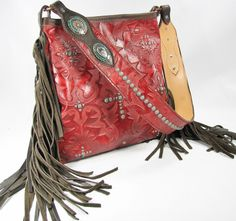 Red Boot Top Tote Handbag with Fringe and Copper Patina by Running Roan Tack