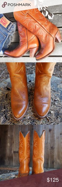 RARE Vintage Frye Western Cowgirl Boots If there were ever boots made for walkin, these would be it! 👢👢Authentic Vintage 1970's Frye Western High Heel Cowgirl Boots in Cognac w/red & yellow embroidery. Heel:3 in. Shaft:11 in. Calf circ:13 inches. They're perfectly broken in & have been well loved. For such a vintage item they have very few flaws, there's 1 deep scratch on the toe of the right boot shown in pic #2 & pic #7 shows a tiny stain & #8 shows loose stitching that's been fixed. Oh…