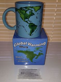 Unemployed Philosophers Guild Mug World Map Global Warming Heat Activated Cup #coffeemug #unemployedphilosophers #heatactivated