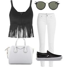 Easy in black&white by stefania-fornoni on Polyvore featuring polyvore, moda, style, Topshop, Paige Denim, Vans, Givenchy, Ray-Ban, Summer, Chanel and weekend