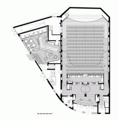 Image 13 of 16 from gallery of Filmtheater Weltspiegel Cottbus / Studio Alexander Fehre. Auditorium Plan, Auditorium Architecture, Theater Architecture, Concept Architecture, Urban Architecture, Theater Plan, Movie Theater, School Floor Plan, Ing Civil