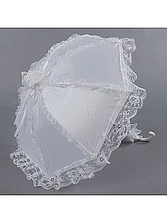 Vintage Wedding Parasol with White Matching Ruffle Victorian Style Recommended - USD $24.69