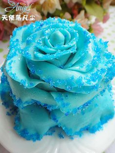 how to make blue rose cake (in chinese)
