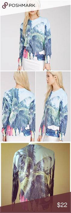 """Forever 21 Palm Tree Graphic Sweatshirt --- Small Forever 21 Palm Tree Graphic Sweatshirt --- 3D style --- size small --- excellent pre loved  condition --- 76% polyester 24% cotton --- oversized fit as shown on model --- 19.5"""" bust --- 25"""" length --- Color is accurate in first and second pictures --- thank you for visiting my boutique, please feel free to ask any questions Forever 21 Tops Sweatshirts & Hoodies"""