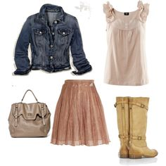 Skirt n Boots, created by mommafor123 on Polyvore
