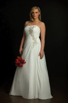 Shop Simple Plus Size Column Strapless Appliques Floor Length Chiffon Bridal Dress Online affordable for each occasion. Latest design party dresses and gowns on sale for fashion women and girls.