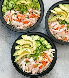 California Sushi Roll Bowls with Cauliflower Rice Meal Prep - Kirbie's Cravings