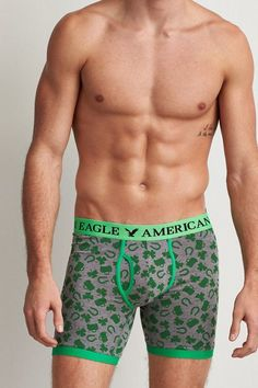 """American Eagle Outfitters AEO Clover Print 6"""" Classic Trunk American Eagle Underwear, American Eagle Men, Sperrys Men, Under Armour Men, Mens Outfitters, Gym Wear, Boxers, Adidas Men, Aeo"""