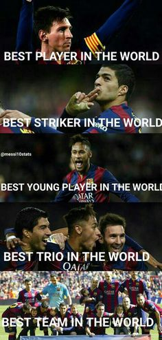 In Messi: 27 Goals, 17 assists Neymar: 18 goals, 3 assists Suárez: 20 goals, 10 assists Barça: Best team. Messi Neymar Suarez, Messi And Neymar, Messi Soccer, Soccer Memes, Soccer Quotes, Basketball, Soccer Sports, Soccer Tips, Football Memes