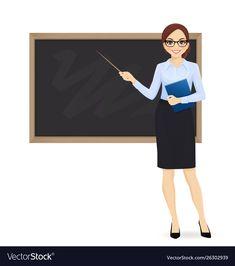 Teacher at blackboard Royalty Free Vector Image Classroom Welcome, Teacher Classroom Decorations, Welcome To School, Classroom Images, Teacher Cartoon, Cute Cartoon, Comic Drawing Styles, Teacher Images, Professor