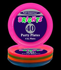 N64090 Assorted Neon Blacklight Reactive 6 Inch Sturdy Plastic Party Plates - 40 pack