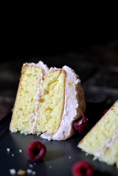 Buttermilk Cake with Raspberry Buttercream Frosting: Enjoy the summer fruit while making this easy cake to enjoy. #recipe #desserts