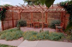 redwood pergola with fencing | ... pest resistant redwood and cedar, even the lattice was custom-crafted