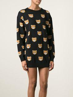 MOSCHINO intarsia Teddy bear sweater dress