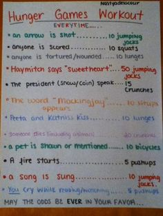 Hunger Games Workout. And may be odds be ever in your favor <3 love! This is a great excuse to watch the movie again :)
