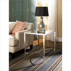 Mallory Rectangular End Table in Satin Nickel