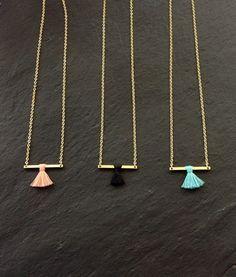 Gold Tassel Bar necklace - Minimalist Layering Necklace - Layered Tassel necklace - Simple and Dainty Necklace