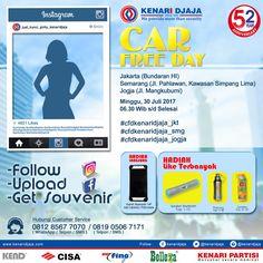 "Sahabat Kenari Djaja Yang Berada Di Jakarta, Semarang Dan Jogja ...  Gabung Bersama Kami Di Acara ""Car Free Day Kenari Djaja"" Hari Minggu, 30 Juli 2017, Jam 06.30 WIB s/d Selesai  Dapatkan Hadiah Menarik Dari Kami ....      Informasi Hub. : Ibu Tika 0812 8567 7070 ( WA / Telpon / SMS ) 0819 0506 7171 ( Telpon / SMS )  Email : digitalmarketing@kenaridjaja.co.id  [ K E N A R I D J A J A ] PELOPOR PERLENGKAPAN PINTU DAN JENDELA SEJAK TAHUN 1965  SHOWROOM :  JAKARTA & TANG.."