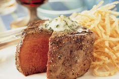 Steaks With Lemon-Parsley Butter - Weber Weber Q Recipes, Butter Recipe, Steak Recipes, Steaks, Parsley, Kettle, Dinner Ideas, Grilling, Bbq