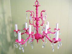Hot pink chandelier!