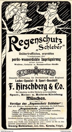 """Werbung - Original-Werbung/ Anzeige 1901 - REGENSCHUTZ """"SCHLEBER"""" / MOTIV FRÖSCHE / HIRSCHBERG - MÜNCHEN / GREIZ - ca. 80 x 155 mm"""