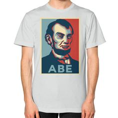 """""""ABE LINCOLN """"HOPE"""" DESIGN"""" UNISEX T-SHIRT (Color : Silver) - By Gordons Wear"""