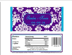 Purple & Turquoise Damask Wedding Candy Bar Wrapper Wed 640 WP Candy Bar Wedding, Damask Wedding, Candy Bar Wrappers, Special Day, Turquoise, Purple, Sweet Tables, Peacock, Appetizers