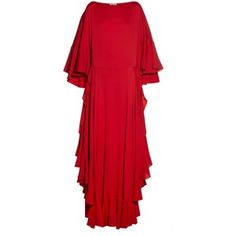 Lanvin Boat-neck ruffled crepe gown