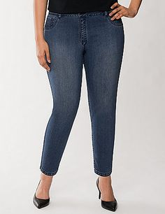 A daring trend in denim, our reversible skinny ankle jean does double duty with two must-have washes in one easy piece. Soft, stretchy and form-fitting whichever side you choose, the slim-fit hugs your shape from mid-rise to ankle. Faux front pockets and patch back. Button & zip fly closure with belt loops.  lanebryant.com