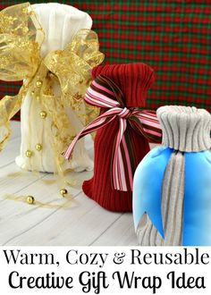 Make a cozy, warm creative gift wrap idea for a reusable, earth-friendly gift bag that makes gifts an extra special surprise. Easy Homemade Christmas Gifts, Christmas Gift Guide, Best Christmas Gifts, Holiday Crafts, Christmas Crafts, Holiday Ideas, Christmas Ideas, Christmas Ornaments, Creative Gift Wrapping