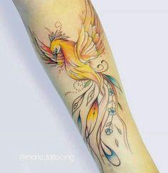 Tatuajes Tatoo Phoenix, Watercolor Phoenix Tattoo, Phoenix Tattoo Sleeve, Phoenix Painting, Time Tattoos, New Tattoos, Sleeve Tattoos, Body Art Tattoos, Tattoo Ink